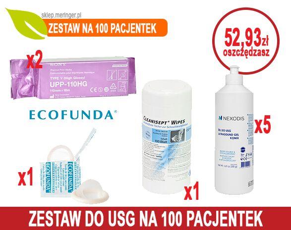 Zestaw USG 100 - na 100 pacjentek - Papier USG SONY UPP-110HG + Żel USG Nexodis 0,5 l + Cleanisept Wipes + Osłonki USG ECOFUNDA sucha