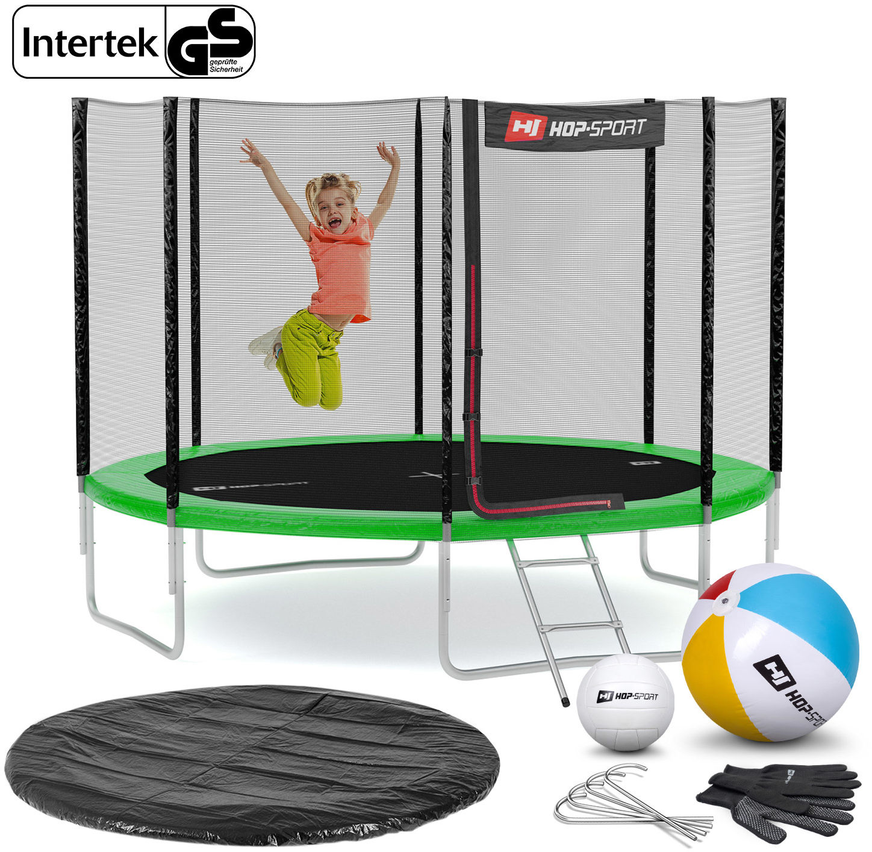Trampolina Hop-Sport 10ft (305cm) zielona z siatką zewnętrzną - 4 nogi