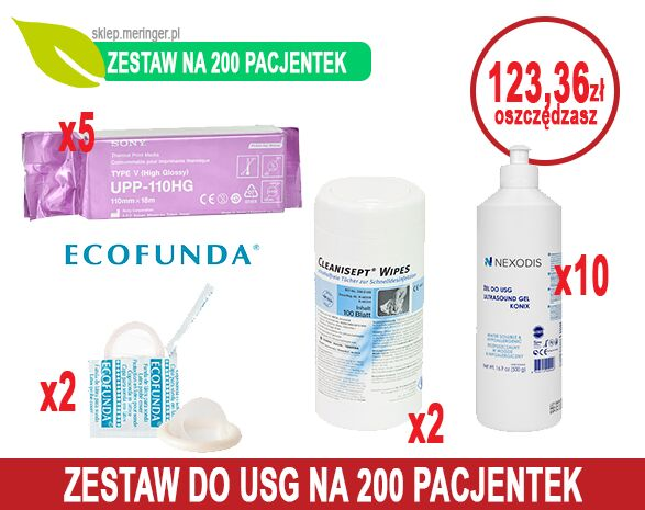 Zestaw USG 200 - na 200 pacjentek - Papier USG SONY UPP-110HG + Żel USG Nexodis 0,5 l + Cleanisept Wipes + Osłonki USG ECOFUNDA sucha