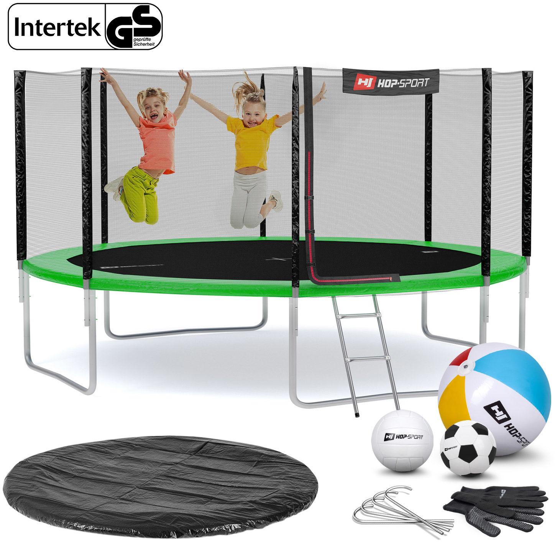 Trampolina Hop-Sport 14ft (427cm) zielona z siatką zewnętrzną
