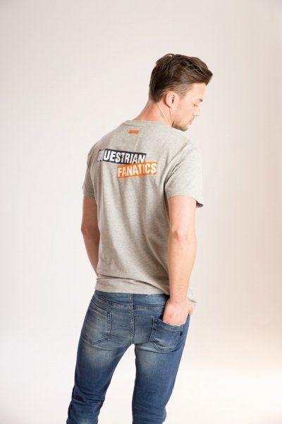 Koszulka męska KEN-T z napisem na plecach ESKADRON Equestrian Fanatics - grey melange