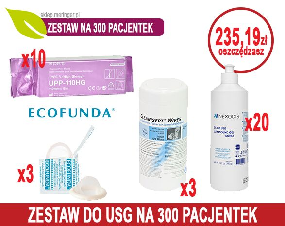 Zestaw USG 300 - na 300 pacjentek - Papier USG SONY UPP-110HG + Żel USG Nexodis 0,5l + Cleanisept Wipes + Osłonki USG ECOFUNDA sucha