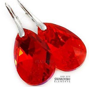 Najnowsze! Swarovski Piękne Kolczyki Czerwone