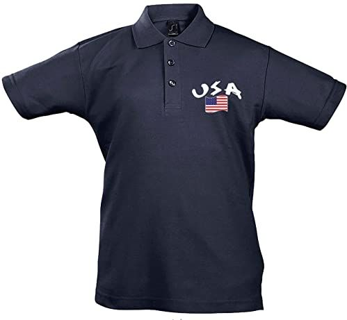 Supportershop Unisex dziecięca koszulka polo Rugby Enfant Usa Rugby dla dzieci, USA niebieski niebieski FR : L (Taille Fabricant : 8 Jahre)