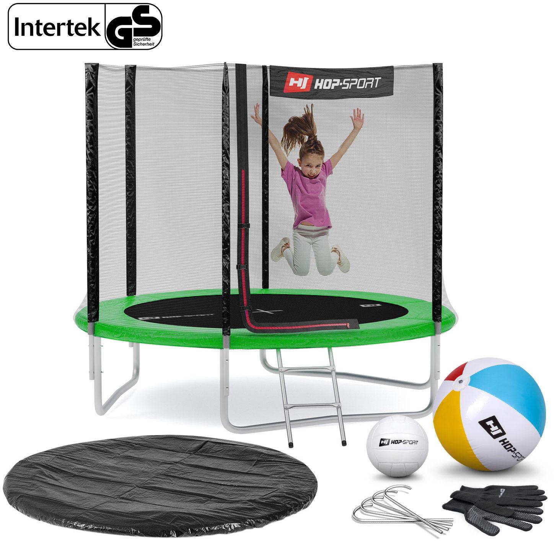 Trampolina Hop-Sport 8ft (244cm) zielona z siatką zewnętrzną
