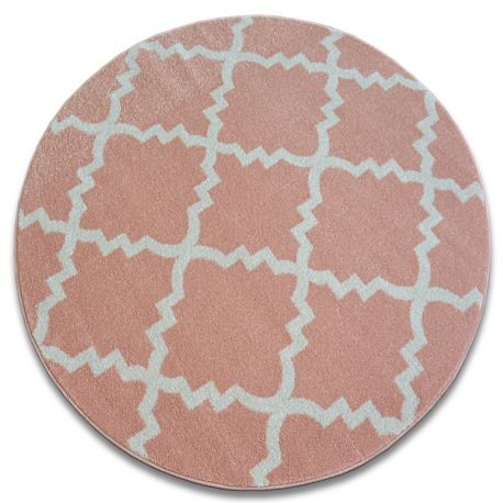 Dywan SKETCH koło - F343 różowo/kremowa koniczyna marokańska trellis koło 100 cm