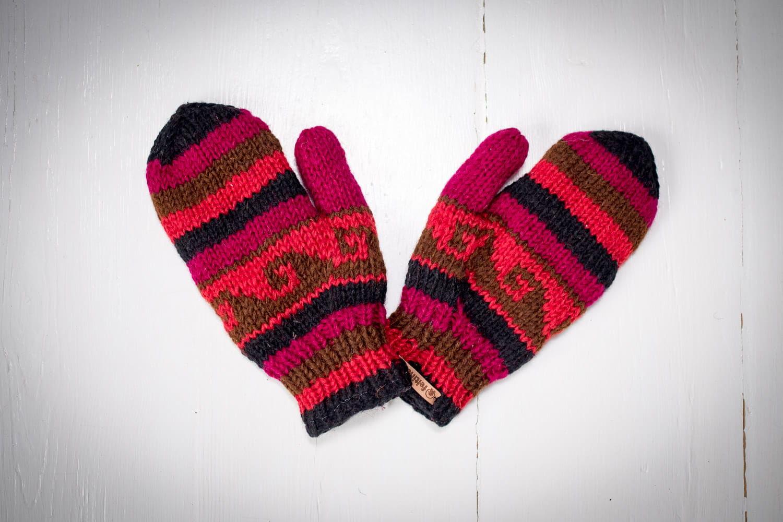 Rękawiczki z wełny bordowe