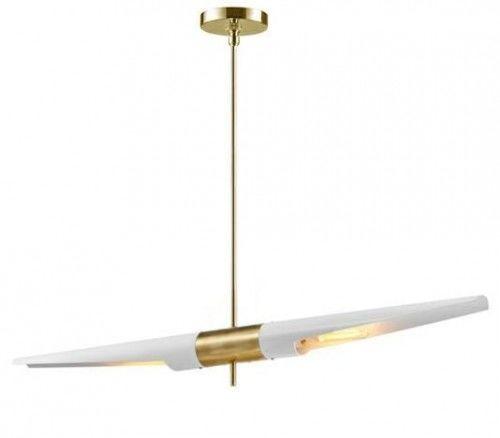 Lampa wisząca Apollo 1 biała - szczotkowane złoto