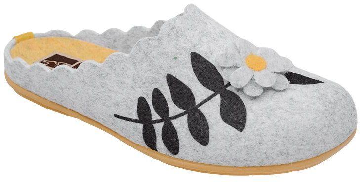 Kapcie MANITU 320559-9 Popielate Pantofle domowe Ciapy zdrowotne - Popielaty Szary Żółty