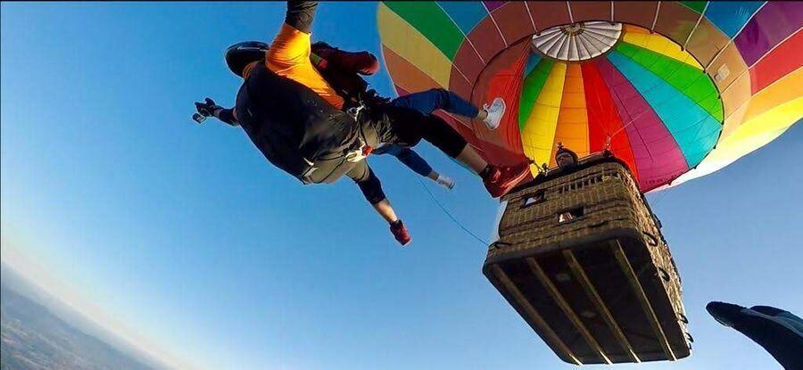Skok spadochronowy z balonu - Karkonosze skoczek + pasażer