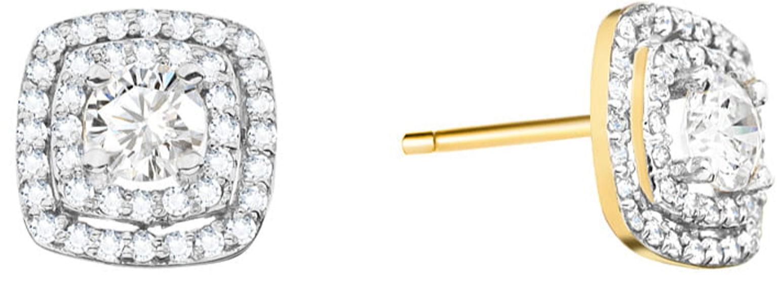 Złote kolczyki 585 kwadraciki z diamentami 2,2g