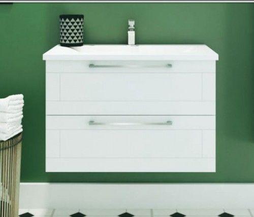 Szafka umywalkowa z umywalką, biały połysk SERENA RETRO