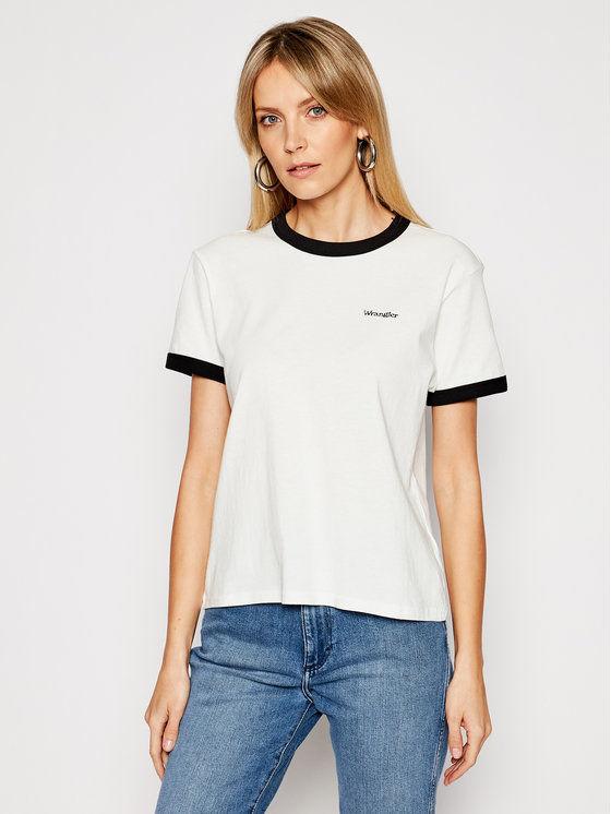 Wrangler T-Shirt Ringer W7S0DRXV6 Biały Relaxed Fit