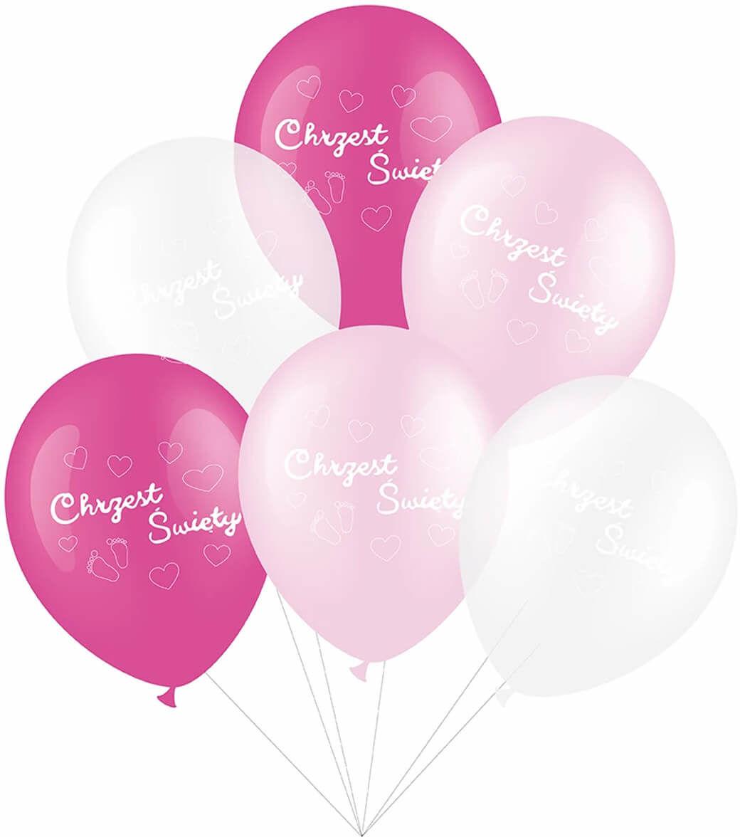 Zestaw balonów na chrzest dla dziewczynki - 30 cm - 6 szt.