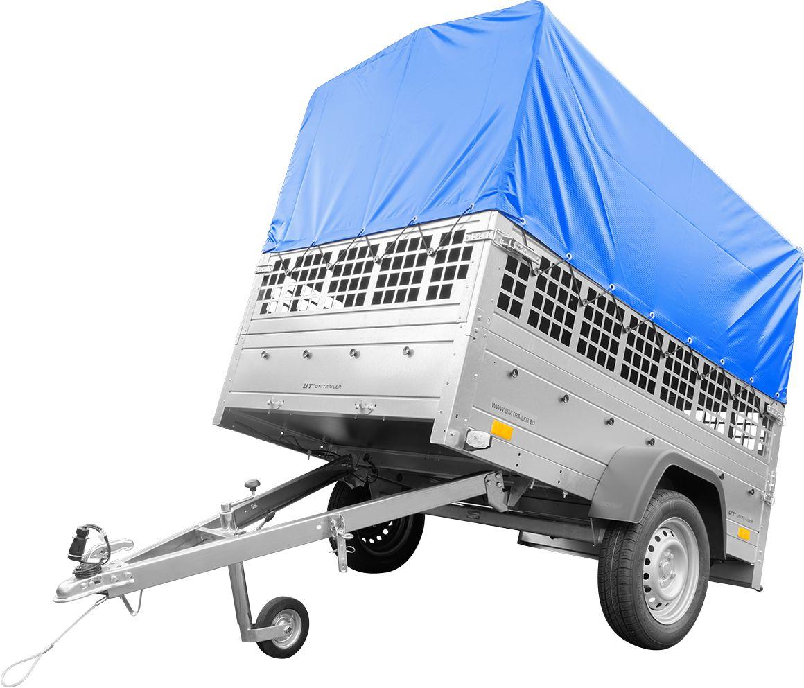 Lekka przyczepa samochodowa do 750 kg GARDEN TRAILER 201 KIPP z kołem podporowym, burtami siatkowymi i stelażem H-800 z plandeką niebieską