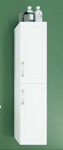 Szafka wysoka łazienkowa z dwoma drzwiami 160x35x35 cm panel akcesoriów, biały połysk SERENA RETRO