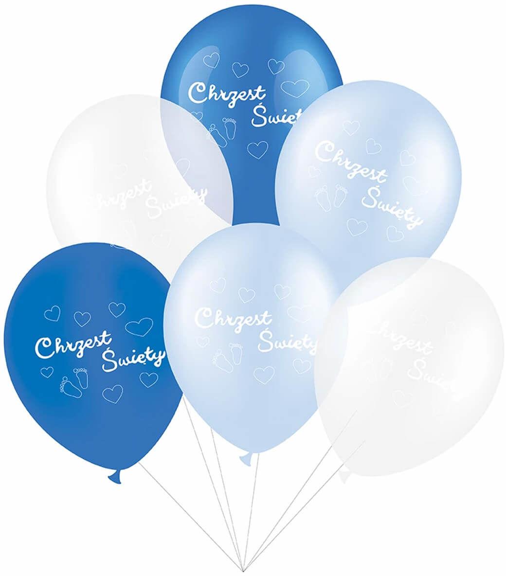 Zestaw balonów na chrzest dla chłopca - 30 cm - 6 szt.