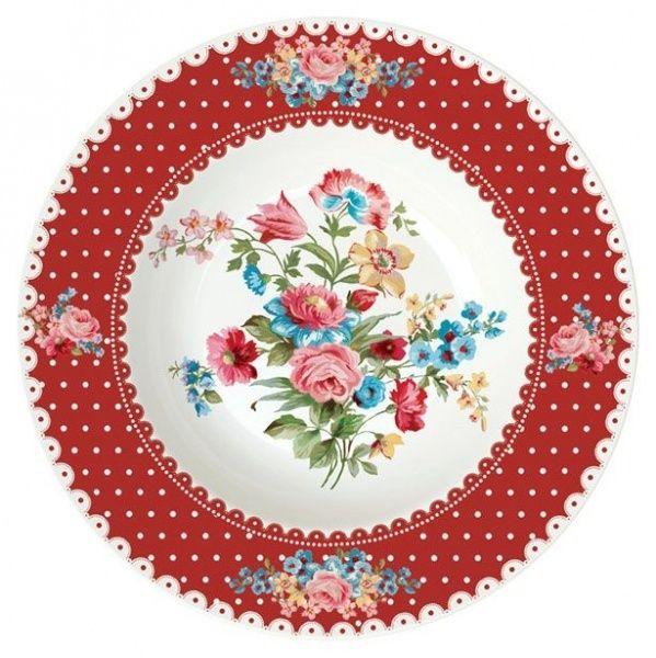 TALERZ PORCELANOWY GŁĘBOKI - Le Jardin Secret RED 21,5 cm (943 JAFR)