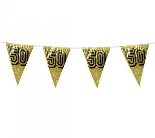 Girlanda z flag na 50 urodziny, złote flagi holograficzne