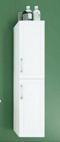 Szafka wysoka łazienkowa z dwoma drzwiami 160x35x35 cm + kosz na bieliznę, biały połysk SERENA RETRO