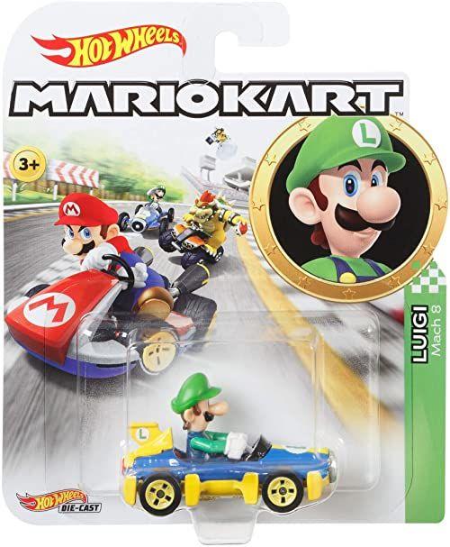 Hot Wheels GBG27 Mario Kart 1:64 odlew ciśnieniowy Luigi z pojazdem Mach 8