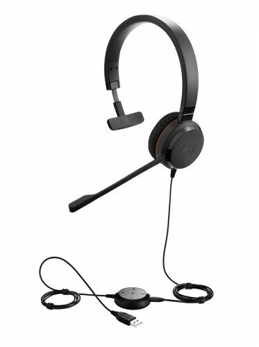 Jabra EVOLVE 30 II UC Mono USB Headband, Noise cancelling, USB and 3.5 connectivity, with mute-button and volume control on the cord, with leather ear cushion