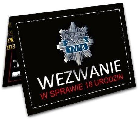 Zaproszenie na 18 urodziny Wezwanie Policyjne 1szt. ZX8500