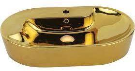 Umywalka nablatowa 70x45x13 cm złota połysk