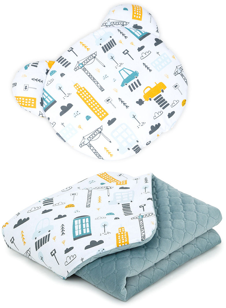 MAMO-TATO Kocyk dla niemowląt z poduszką MIŚ - Miasto / khaki