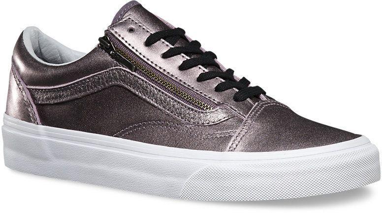 obuwie damskie VANS OLD SKOOL ZIP (Metalic Leather) Thistle Purple/True White