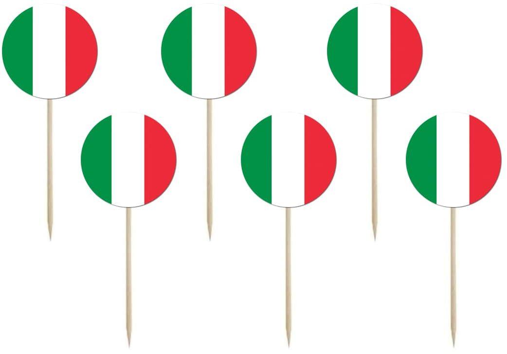 Pikery na tort Flaga Włoch - 6 szt.