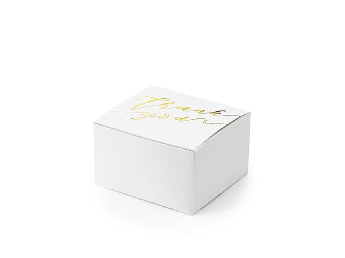 Pudełeczka dla gości ze złotym napisem Thank You - 10 szt.