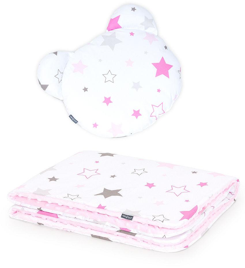 MAMO-TATO Kocyk dla niemowląt z poduszką MIŚ - Gwiazdozbiór różowy / jasny róż