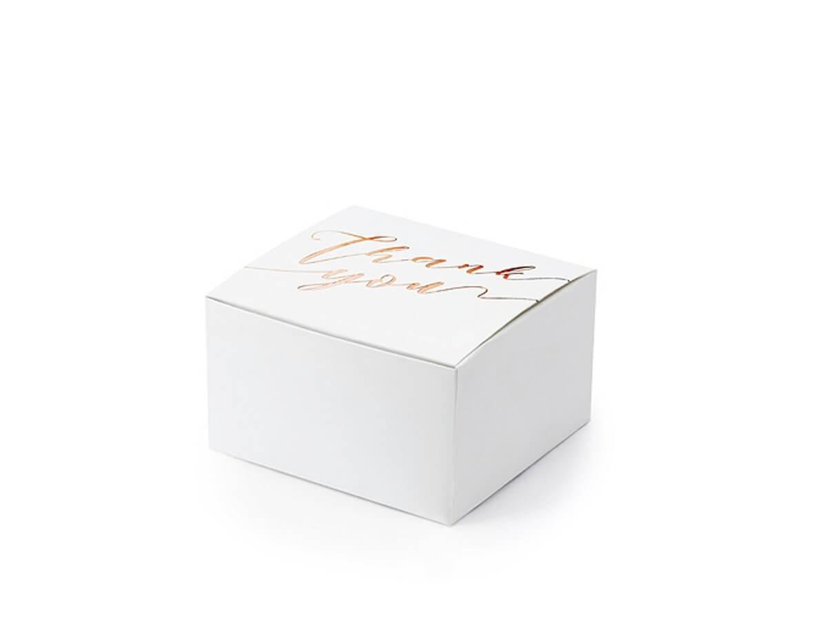 Pudełeczka dla gości ze złoto-różowym napisem Thank You - 10 szt.