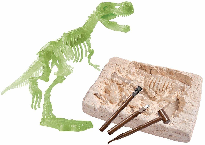 Simba 104342403 Gloe in the Dark T-Rex zestaw do wykopywania i składania, w zestawie narzędzia
