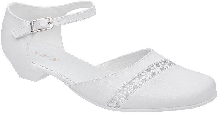 Pantofelki buty komunijne dla dziewczynki KMK 45 Białe - Biały