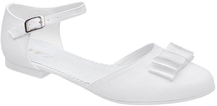 Pantofelki buty komunijne dla dziewczynki KMK 223 Białe - Biały