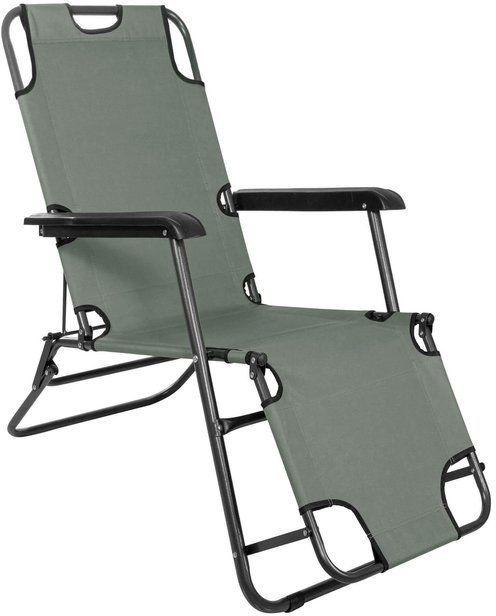 Leżak ogrodowy, leżanka składana fotel szary