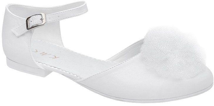Pantofelki buty komunijne dla dziewczynki KMK 221 Białe - Biały