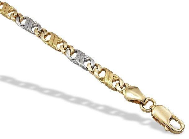 Bransoleta robiona ręcznie z żółtego i białego złota irbr-2zb