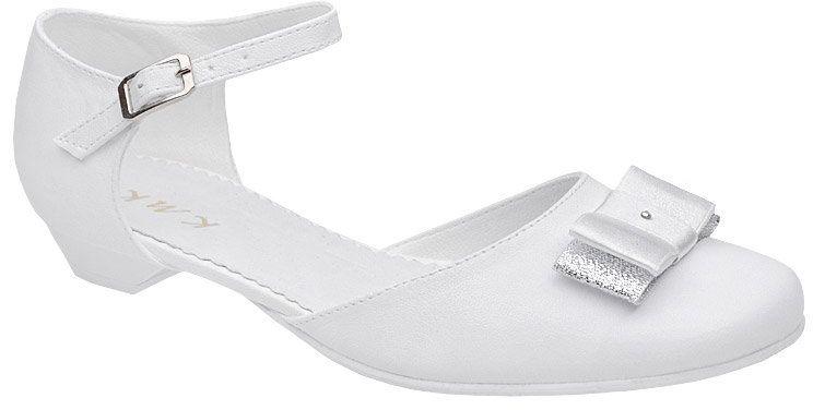 Pantofelki buty komunijne dla dziewczynki KMK 224 H Białe - Biały