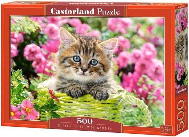 Puzzle 500 elementów - Kociak w kwiecistym ogrodzie