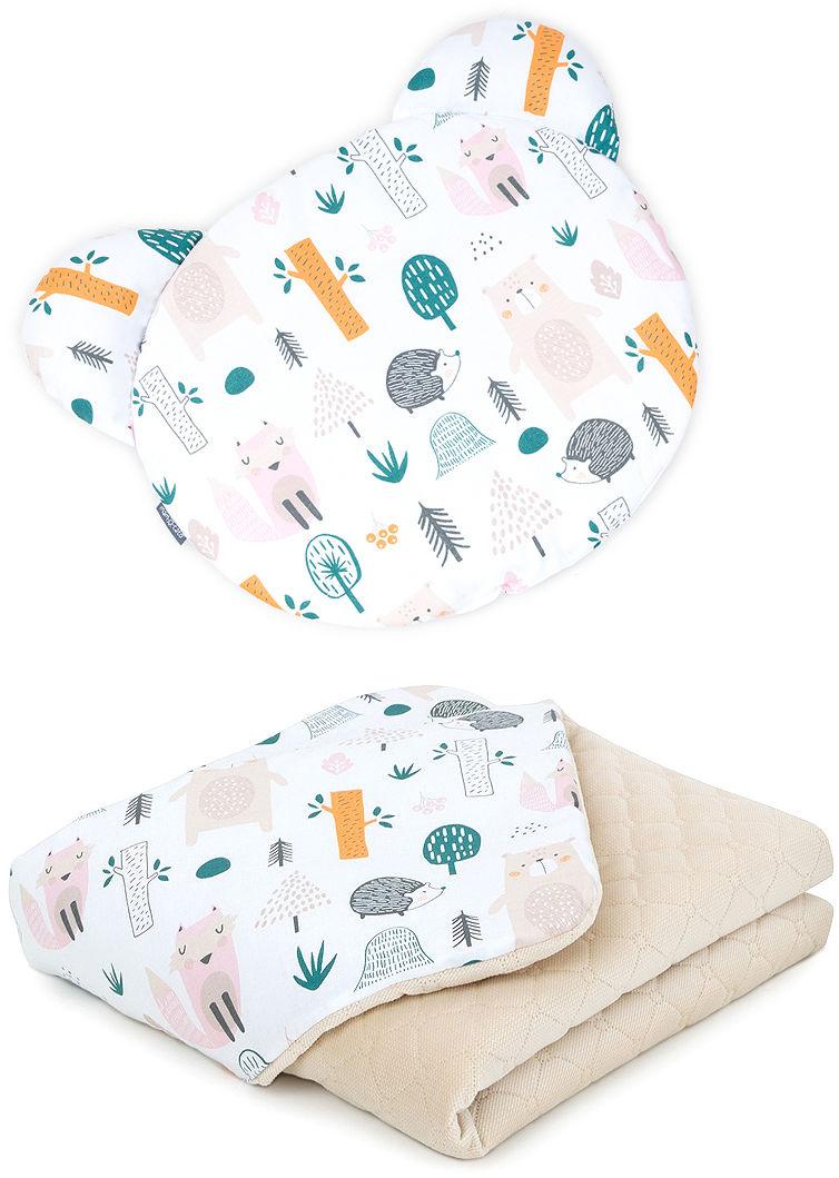 MAMO-TATO Kocyk dla niemowląt z poduszką MIŚ - Forest / piaskowy