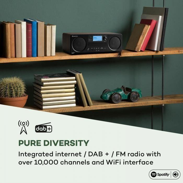 Auna Worldwide CD Radio internetowe Spotify Connect sterowanie aplikacją Bluetooth kolor orzecha włoskiego