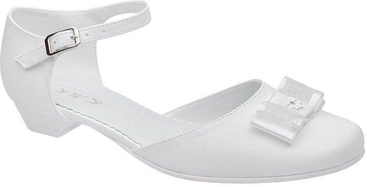Pantofelki buty komunijne dla dziewczynki KMK 226 H Białe - Biały