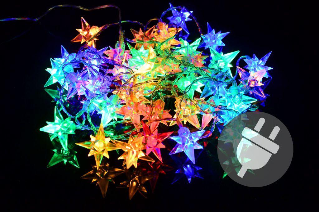 Świąteczne LED lampki - kolorowe gwiazdki, 40 LED
