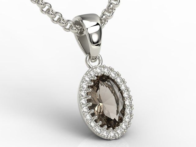 Wisiorek z białego złota z kwarcem dymnym i diamentami apw-49b