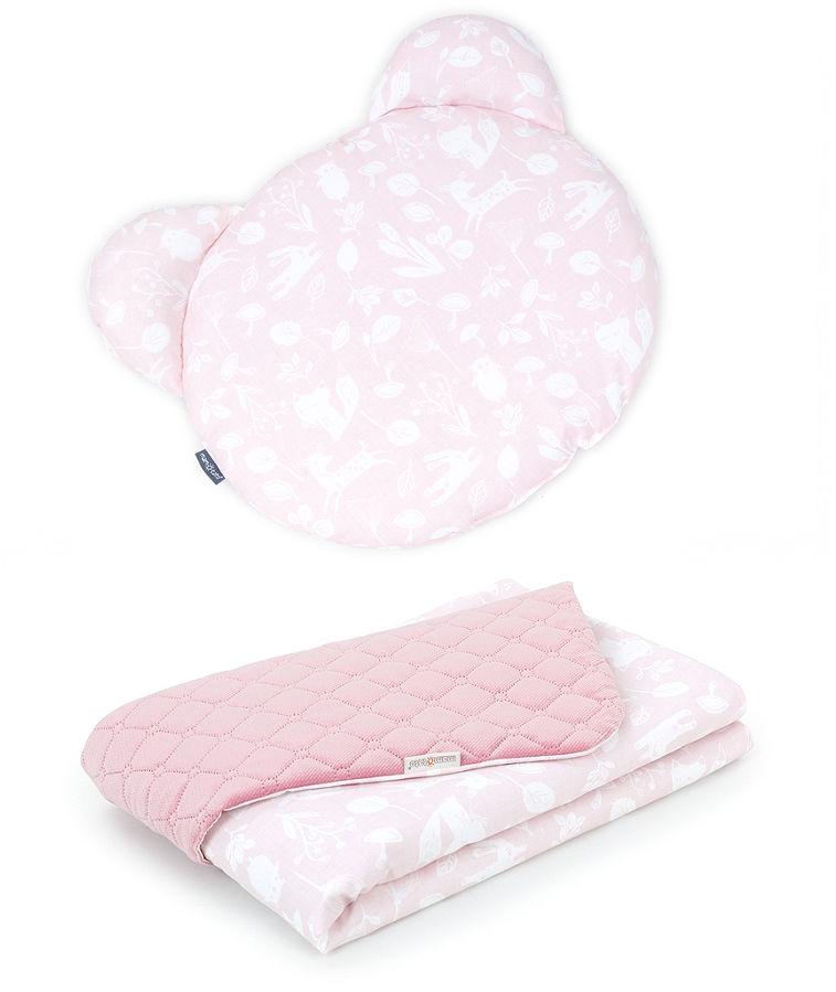 MAMO-TATO Kocyk dla niemowląt z poduszką MIŚ - Las pastelowy róż / różany