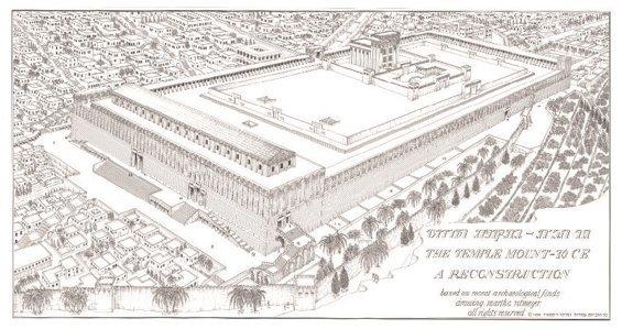 Plakat Wzgórze Świątynne z czasów Jezusa wsch-płn