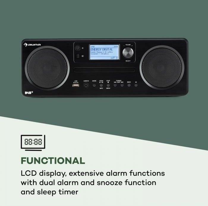 Auna Worldwide CD Radio internetowe Spotify Connect sterowanie aplikacją Bluetooth kolor czarny